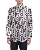 Fendi Men's Futuristic FF Long-Sleeve Silk Shirt