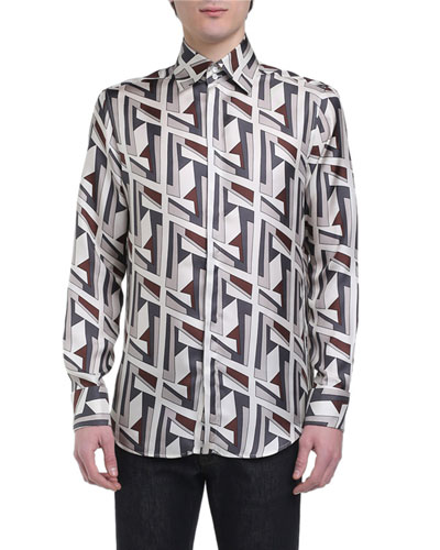 Men's Futuristic FF Long-Sleeve Silk Shirt