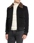 Fendi Men's FF Shearling-Collar Jacket