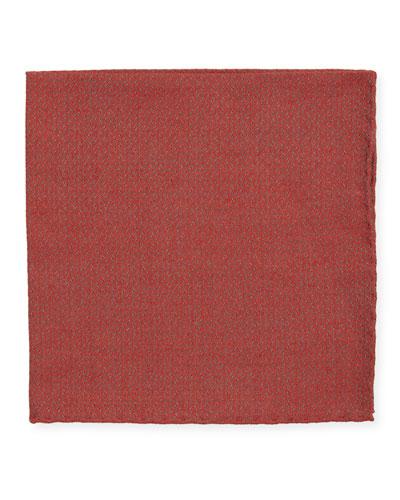 Jacquard Woven Pocket Square, Red
