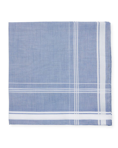 Satin-Edge Cotton Pocket Square, Blue/White