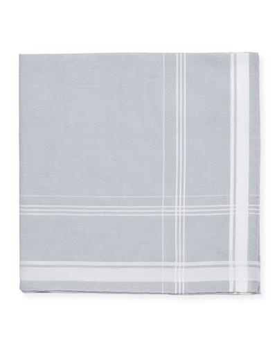 Satin-Edge Cotton Pocket Square, Gray/White