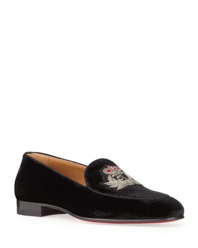 Men's Crest On the Nile Velvet Red Sole Loafers