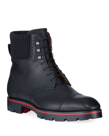 Christian Louboutin Men's Citycroc Red Sole Brogue Leather Boots