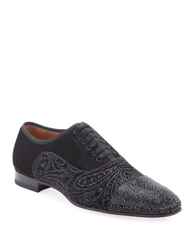 Men's Greggo Jeweled-Velvet Dress Shoes