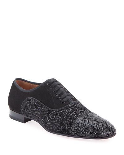 Men's Greggo Jeweled-Velvet Dress Shoes