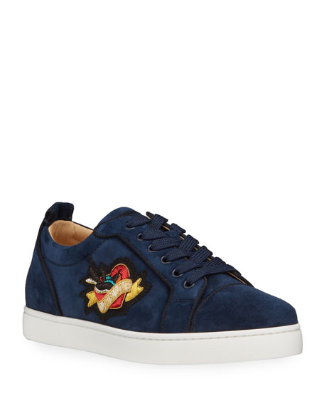 Christian Louboutin Men's Junior Love Suede Low-Top Sneakers
