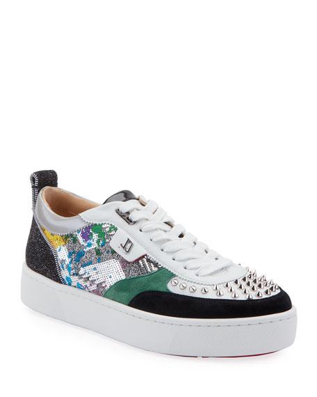 Christian Louboutin Men's Happy Rui Mixed-Media Platform Sneakers