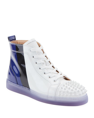 Men's Lou Spikes Patent Leather Mid-Top Sneakers