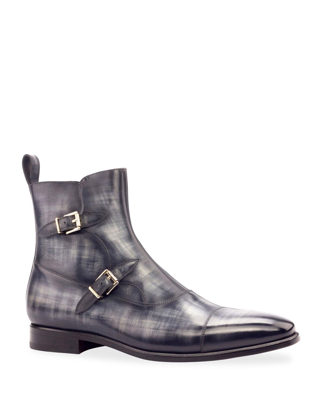 Men's Octavian Patina Leather Double-Monk Boots