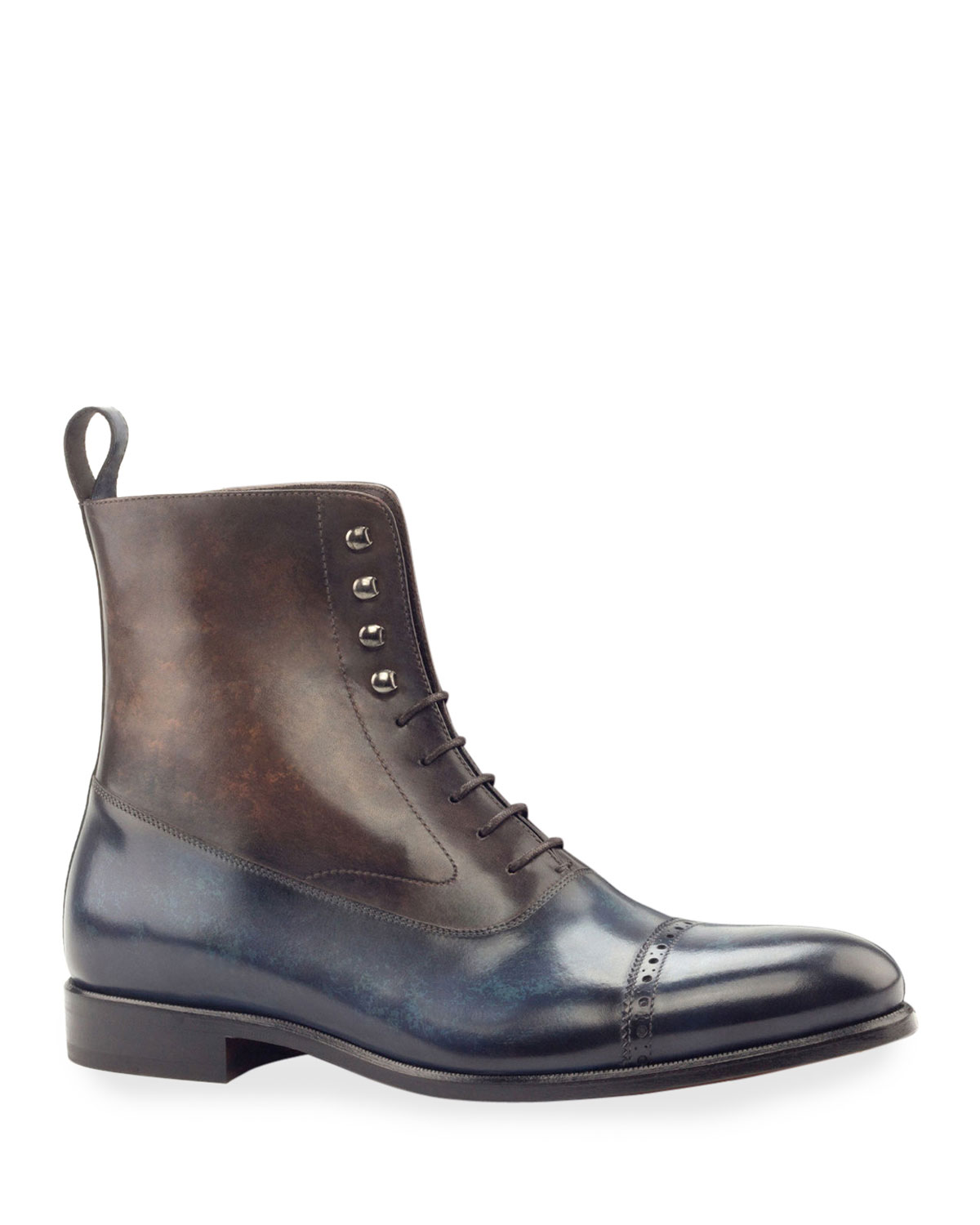 Men's Edge Two-Tone Patina Leather Balmoral Boots