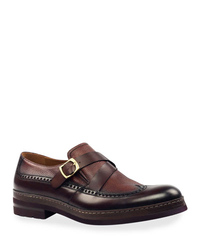 Men's Fusion Wing-Tip Leather Loafers w/ Buckle Strap