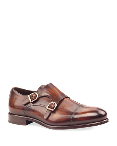 Men's Regal Two-Tone Patina Leather Double-Monk Loafers