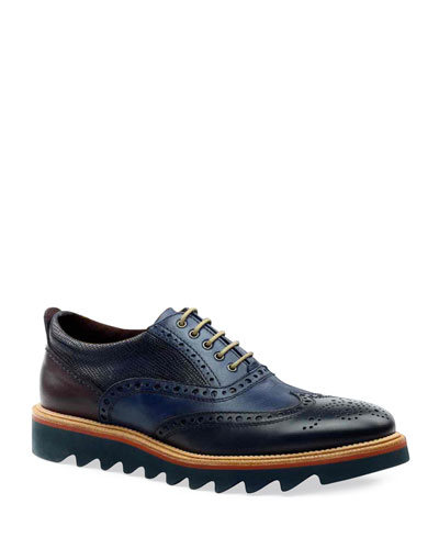Men's Leather Wing-Tip Oxfords