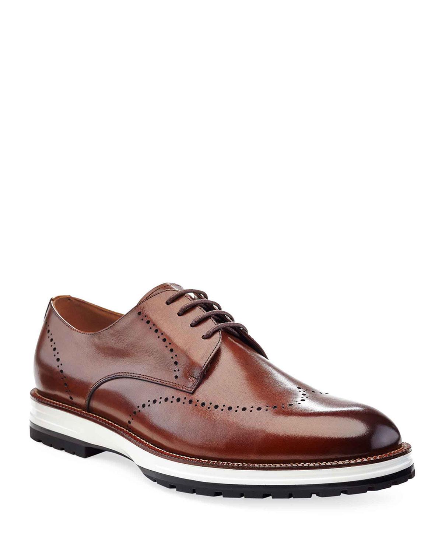 Men's Hybrid Leather Wing-Tip Derby Shoes