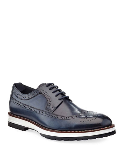 Men's Hybrid Wing-Tip Leather Derby Shoes