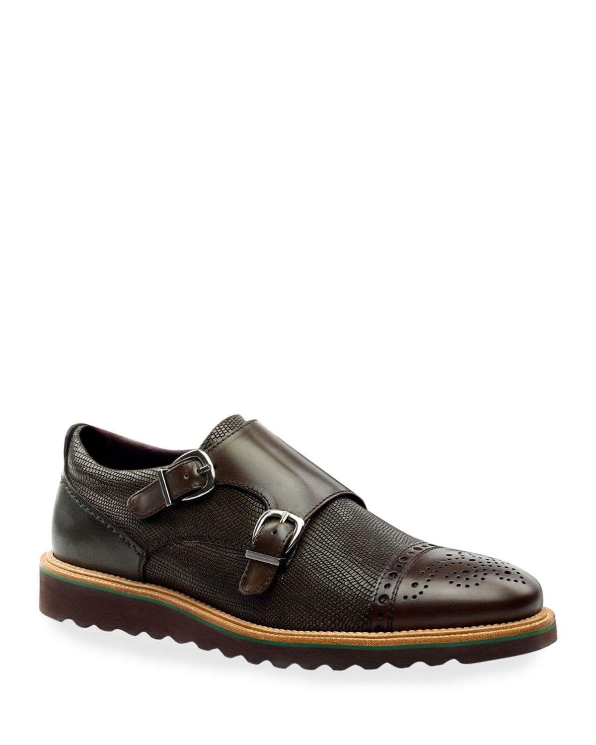 Men's Monza Double-Monk Brogue Leather Loafers