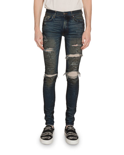 Men's Cashmere-Patch Skinny Jeans