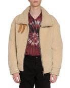 Amiri Men's Oversized Shearling Jacket w/ Leather Straps