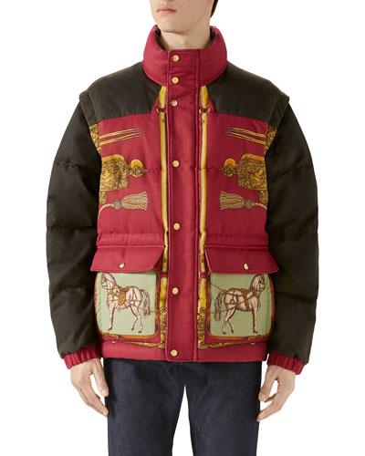 Men's Baroque-Pattern Puffer Coat