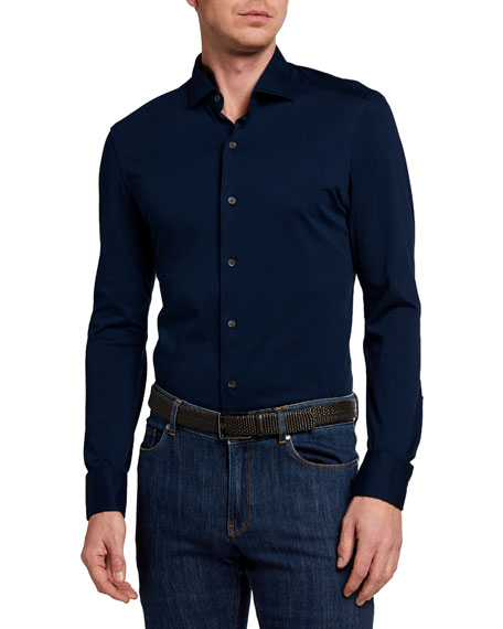 Boglioli BLUE COTTON JERSEY SHIRT