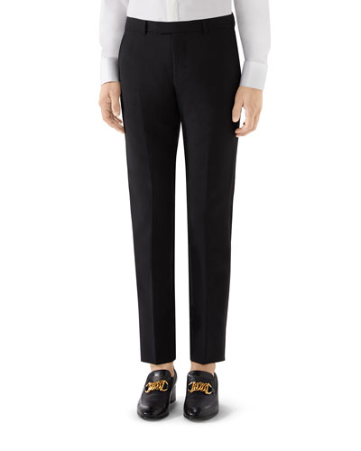 Men's Mohair-Wool Tuxedo Pants
