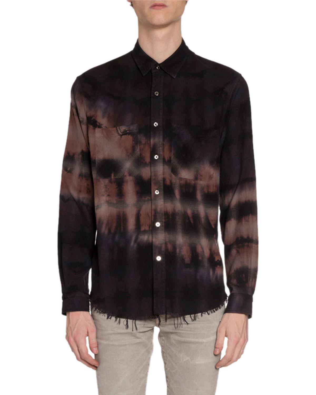 Amiri T-shirts MEN'S BLEACHED FLANNEL SPORT SHIRT