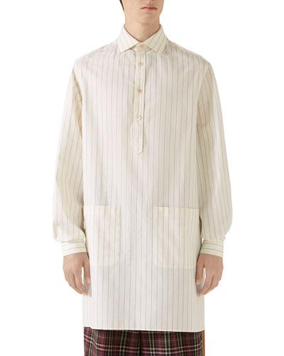 Men's Oversized Pinstripe Long-Sleeve Sport Shirt