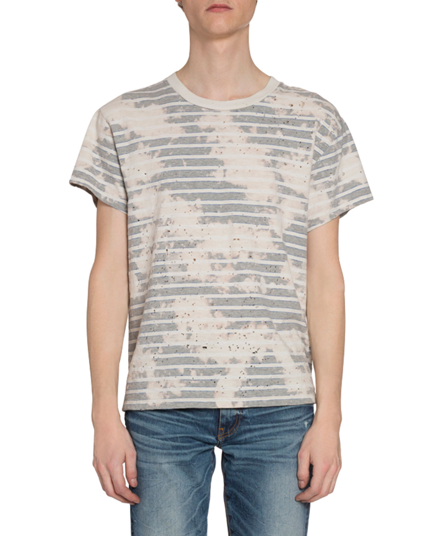 Amiri T-shirts MEN'S BLEACHED STRIPED T-SHIRT