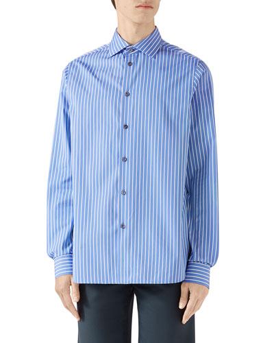 Men's Classic Large Stripe Long-Sleeve Sport Shirt