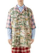 Gucci Men's Feline-Print Short-Sleeve Oversized Sport Shirt