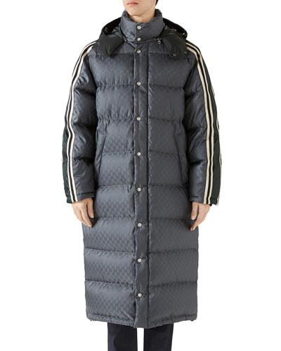 Men's GG Jacquard Long Puffer Coat