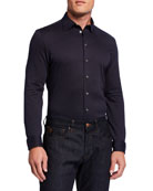 Emporio Armani Men's Jacquard Stretch-Cotton Sport Shirt