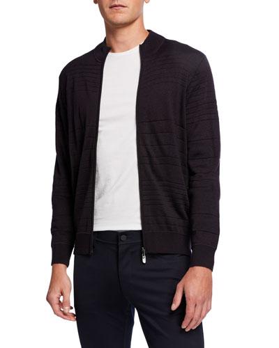 Men's Jacquard Zip-Front Sweater