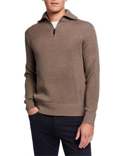 Men's Plaited Rib-Knit Quarter-Zip Sweater