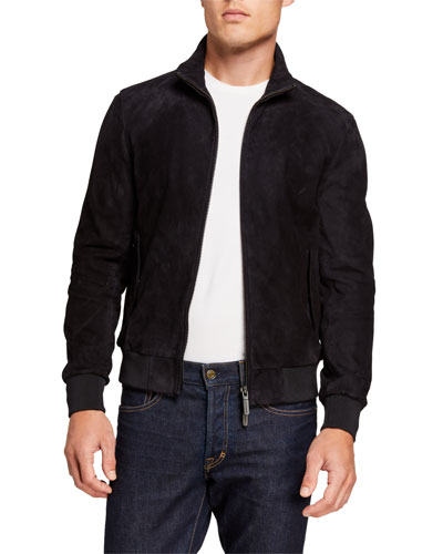 Men's Suede Zip-Front Bomber Jacket