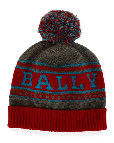 Men's Wool Logo Beanie Hat w/ Pompom