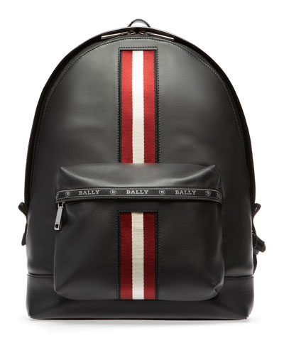 Men's Leather Trainspotting-Stripe Backpack