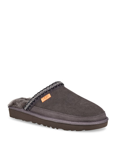 Men's Tasman Fur-Lined Suede Slippers