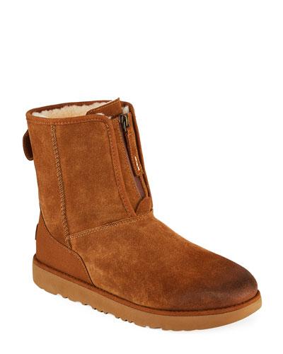 Men's Classic Short Suede Front-Zip Boots