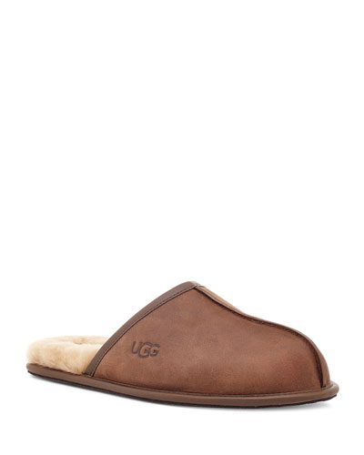 Men's Scuff Leather Mule Slippers w/ Wool Lining