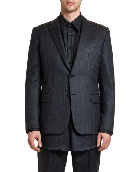 Valentino Men's Stripes Layered-Hem Two-Button Jacket