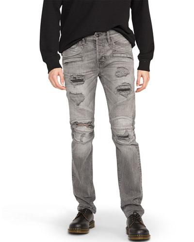 Men's Blinder Biker Distressed Moto Jeans