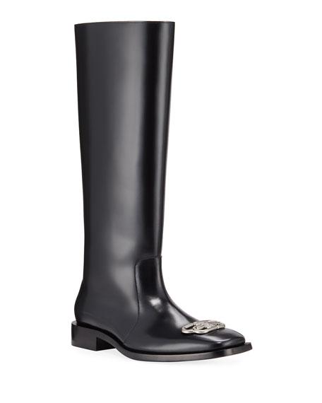 Balenciaga Men's Rim BB-Logo Leather Rain Boots