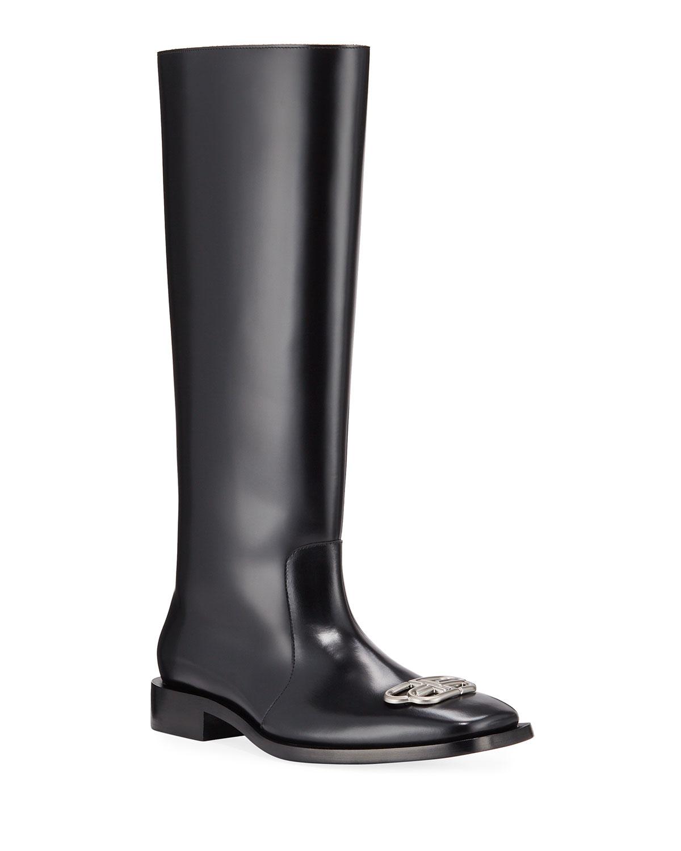 Balenciaga Boots MEN'S RIM BB-LOGO LEATHER RAIN BOOTS