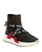 Balmain Men's Troop Strappy High-Top Sneakers