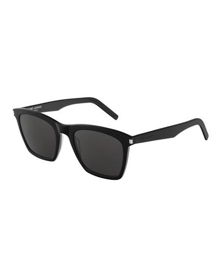 Saint Laurent Men's Slim 281 Rectangle Solid Acetate Sunglasses