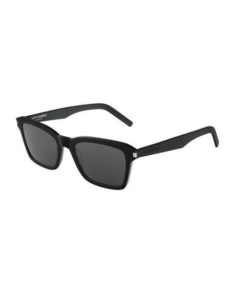 Saint Laurent Men's Slim 283 Rectangle Solid Acetate Sunglasses