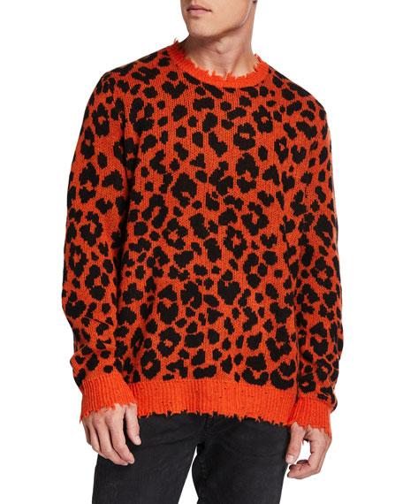 R13 Men's Leopard Cashmere Sweater