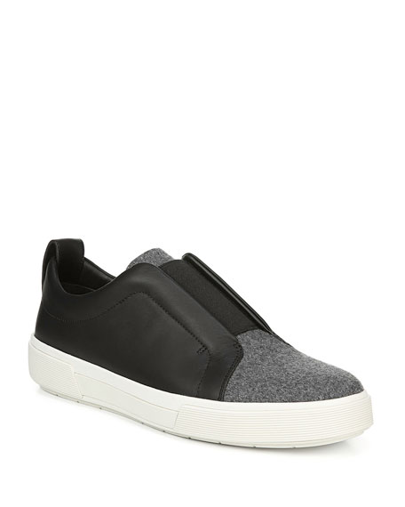 Vince Men's Ranger Leather & Felt Laceless Low-Top Sneakers